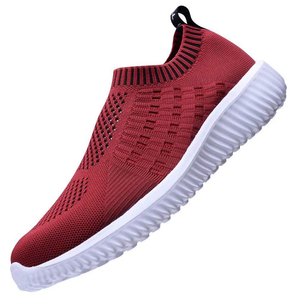 KONHILL Women's Lightweight Walking Shoes - Athletic Breathable Mesh Work Slip-on Sneakers, Burgundy, 45