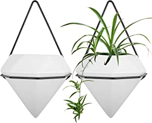 Comrzor Set of 2 Ceramic Hanging Planter Vase Geometric Wall Decor Container, Hanging with Black Metal Frame for Succulent Plants Air Plant Mini Cactus Faux Plants (Medium, White)