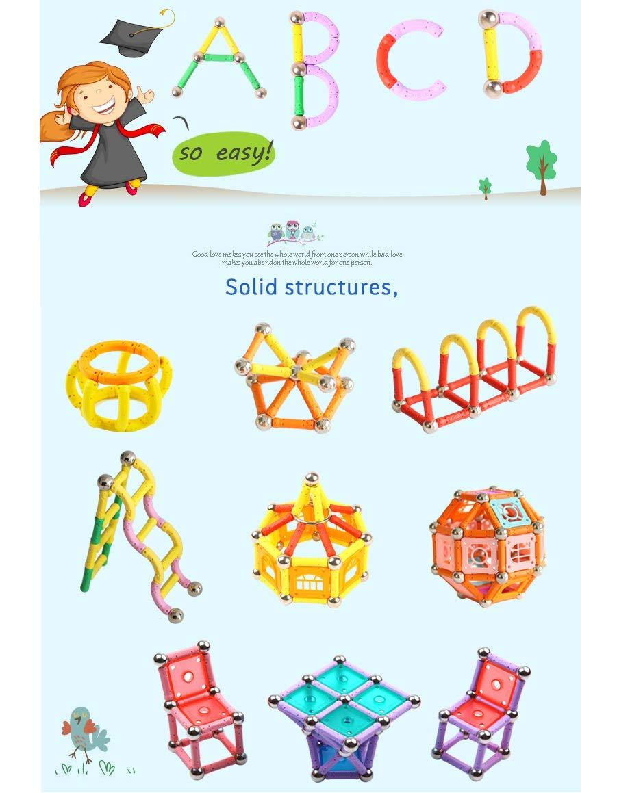 CLCYL Bloques de construcción magnéticos Juguete Educativo Conjunto DIY construcción Azulejos Apilados imanes Bloques niños educativos Cerebro Juegos Mini ...