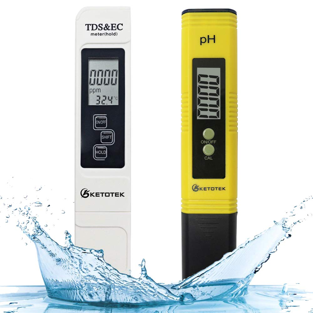 KETOTEK Digital Water TDS Meter PH Meter, PPM Tester has TDS-EC-Temp (3-in-1) and ±2% Accuracy, PH Tester with 0-14.00PH and 0.01 Accuracy, TDS PH Meters for Aquariums Water, Hydroponics, RO System
