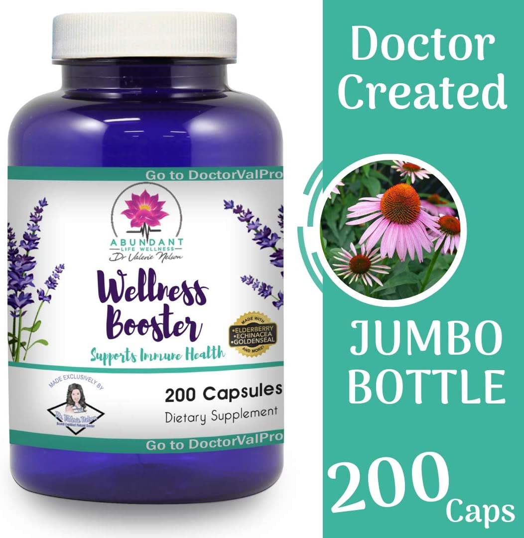 Echinacea Elderberry Goldenseal More – 200 Caps – Wellness Boosters – Thousands of Patients Love This – by Dr. Valerie Nelson