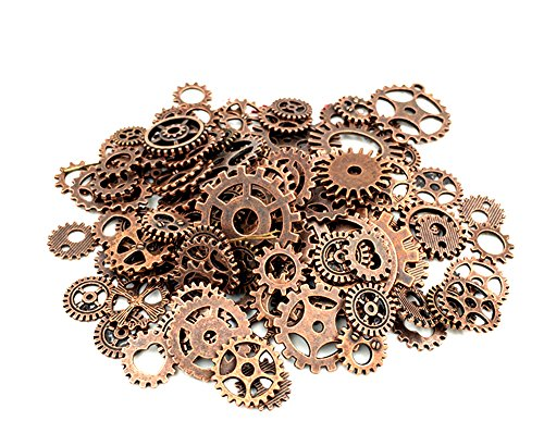 (Y&Y Star 100 Gram approx 70pcs-90pcs Assorted Antique Bronze Alloy Round Clock Steampunk Gears Charms Pendant Clock Watch Wheel Gear for Crafting, Jewelry Making Accessory (Red Copper))