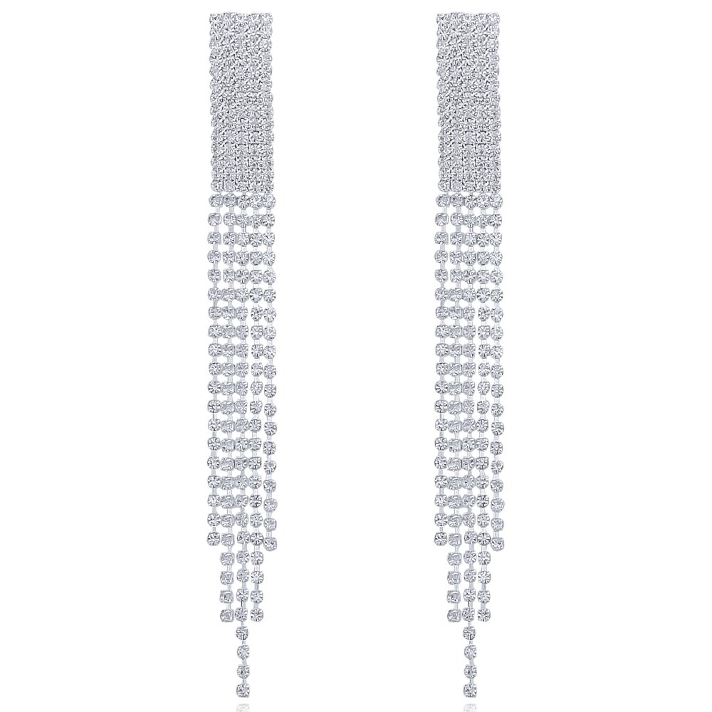 DMI Elegant Bridal Wedding Jewelry Silver-Tone Rhinestone Tassel Long Silver Earrings for Proms Parties