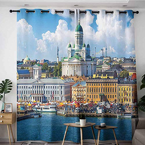 - Onefzc Curtains for Bedroom,European Cityscape Decor Collection Scenic Summer of The Market Square Old Town Helsinki Finnish Northern Skyline Home,Space Decorations,W72x96L,Multi