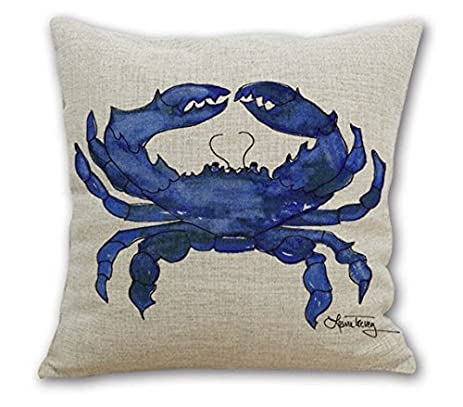 Wonder4 Square Throw Pillow Case Watercolor Decorative Sofa Cushion Cover for Living Room Watercolor Blue