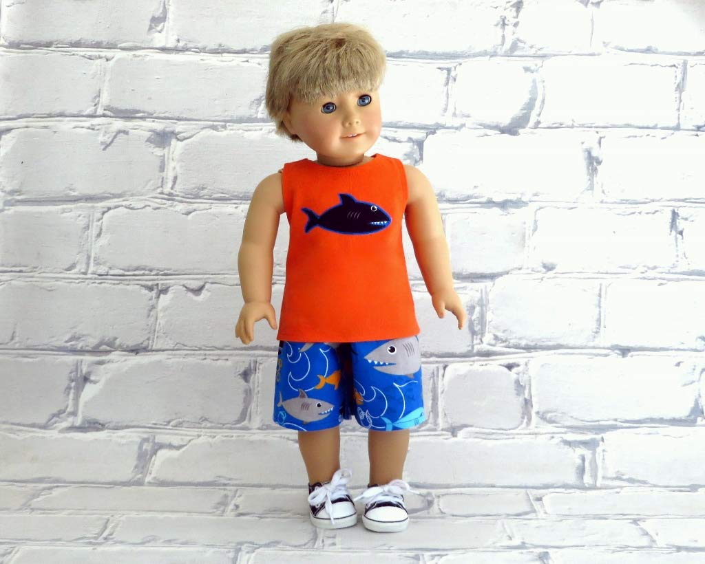 Shark Tank Top with Board Shorts fits 18 inch American Boy Doll