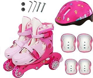DSFGHE Patins à Roues Alignées pour Enfants Patins Réglables pour Débutants Amovibles Et Lavables,Pink-S-Set2