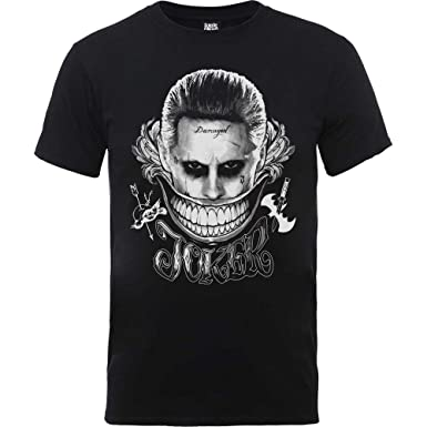 DC Comics Suicide Squad Joker Smile, Camiseta para Hombre, Negro Black, X-