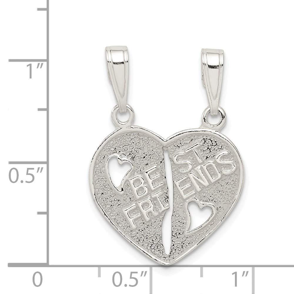 Sterling Silver Best Friends Break apart Heart Solid 9 mm 20 mm Pendants /& Charms Jewelry
