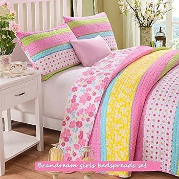 Brandream Full Queen Size Pink Polka Dot Stripe Floral Quilt Set