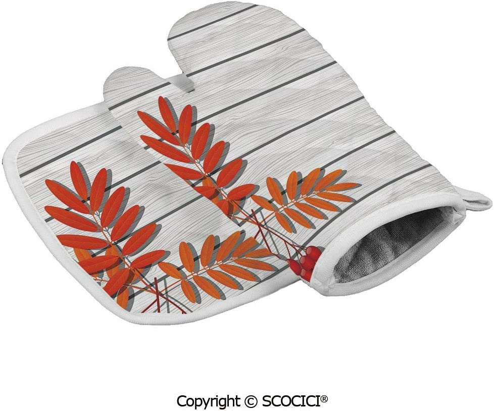 SCOCICI Oven Mitts Glove - Graphic Design of Autumnal Foliage on Wooden Planks Freshness Growth Ecology Heat Resistant, Handle Hot Oven Cooking Items Safely