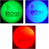 3 Nighthawk Glow In Dark LED Light Up Golf Balls Super Bright Night Golf Fun, Choose Your Colors, Red, White, Blue, Green, Orange