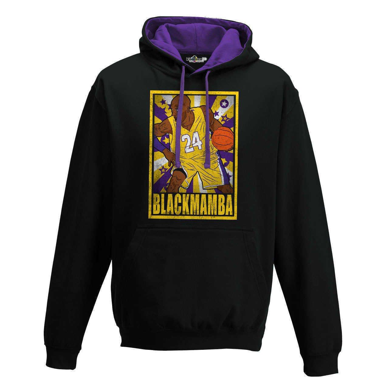 KiarenzaFD Felpa Cappuccio Bico Basket Vintage Parodia Kobe all Star Bryant Black Mamba 1