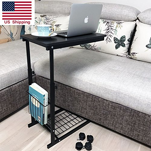 micoe Height Adjustable with wheels Sofa side table slide under adjustable Console table with storage Black for Entryway Hallway - Sofa Table Baskets