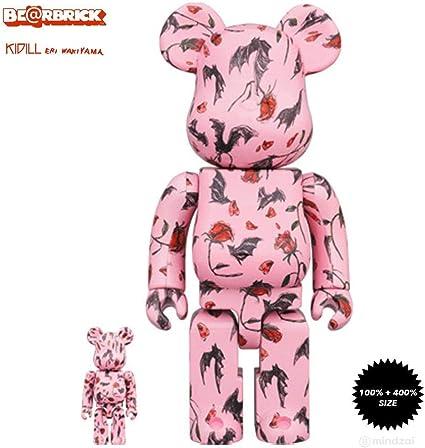 KIDILL × Eri Wakiyama Bat /& Rose 100/% Pink Version 400/% Bearbrick Set