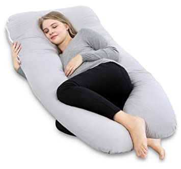 Fantastic Angqi Pregnancy Pillow With Cotton Cover U Shape Full Body Pillow For Pregnant Women And Pain Relief Gray Beatyapartments Chair Design Images Beatyapartmentscom