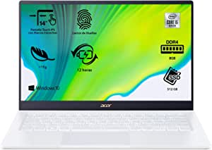 "Acer Swift 5 SF514-54T - Ordenador Portátil táctil ultrafino 14"" FullHD (Intel Core i5-1035G1, 8GB RAM, 512GB SSD, Intel UHD Graphics, Windows 10 Home), Color Blanco - Teclado Qwerty Español"
