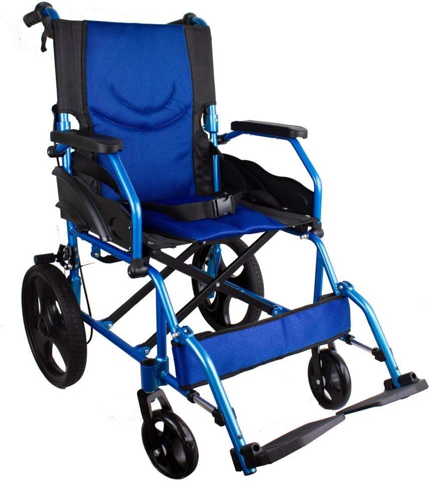 Mobiclinic, Modelo Pirámide, Silla de ruedas ortopédica, para minuválidos, plegable, de aluminio, freno en manetas, reposapiés, reposabrazos, color Azul, asiento, ultraligera