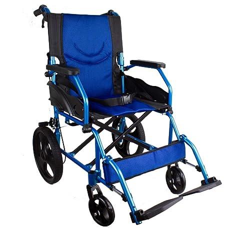 Mobiclinic, Silla de ruedas, Plegable, Aluminio, Frenos en manetas, Azul, Asiento 46 centímetros, Pirámide