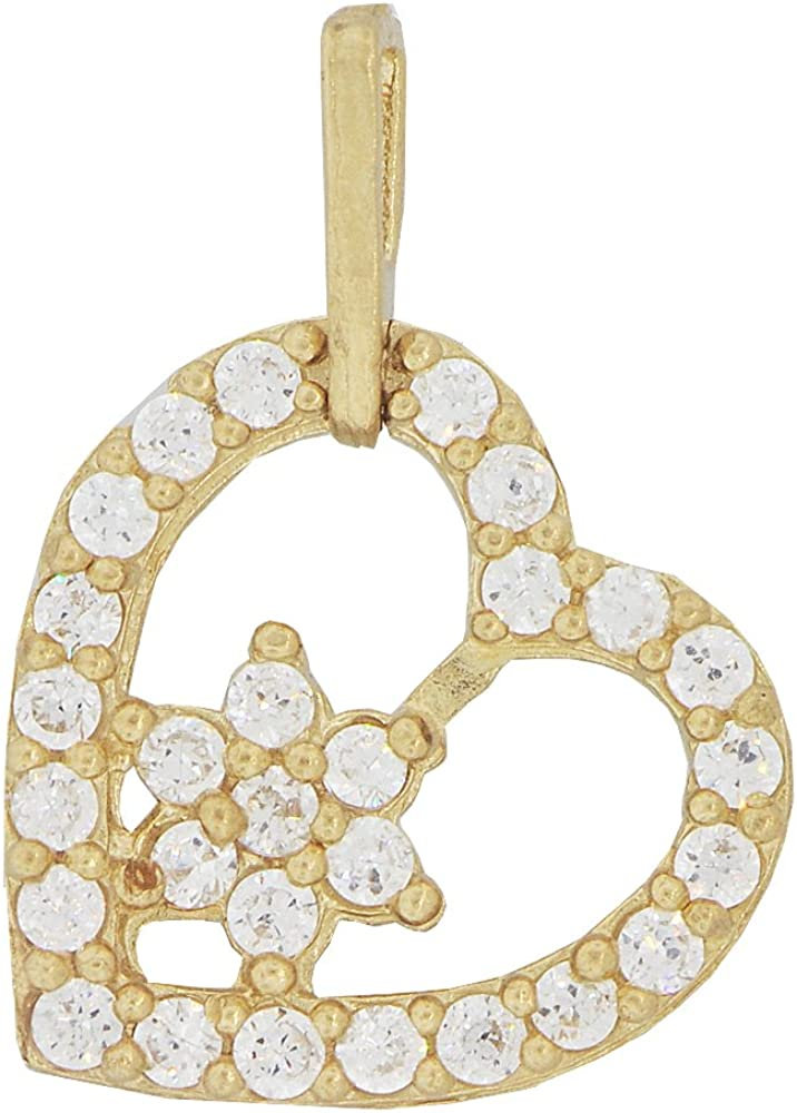14k Yellow Gold Skewed Heart Design Pendant Love Charm Created CZ Crystals