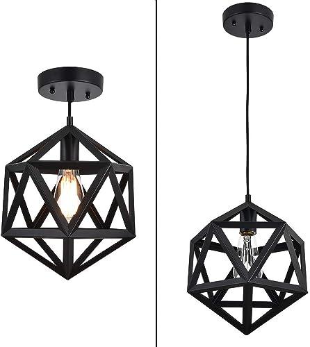 MonDaufie Industrial Metal Pendant Light Geometric Hanging Cage Pendant Lighting Fixture for Bar Cafe Entryway Farmhouse