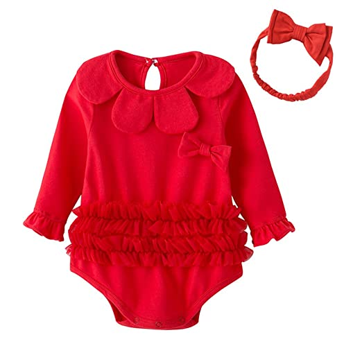 90f3342b4a1f Auro Mesa Newborn Red Baby Girl Bodysuits With Hairband Princess Baby  Clothes Cotton Baby Jumpsuits (