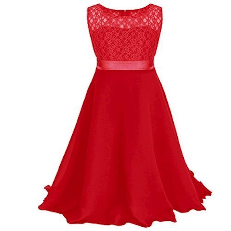 Live It Style It M/ädchen lang Spitzenkleid Chiffon Abendkleid Bodenlang Kleid Hochzeit Brautjungfer Blume