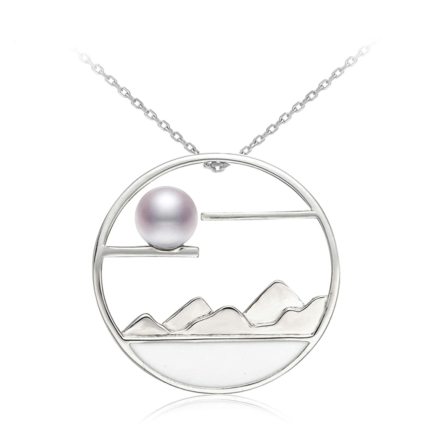 Aooaz Silver Material Necklace Women Girls Mountain and River Pearl Pendant Necklaces Sliver Sliver 45CM