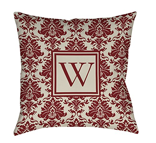 Manual Woodworkers & Weavers Square Indoor/Outdoor Pillow, 16-Inch, Monogrammed Letter W, Crimson Damask