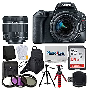 Canon EOS Rebel SL2 Digital SLR Camera + EF-S 18-55mm f/4-5.6 IS STM Lens + Sandisk Ultra SDXC 64GB 80MB/S Memory Card + Accessory Backpack + Flexible Tripod + UV Filters + Card Reader – Valued Bundle
