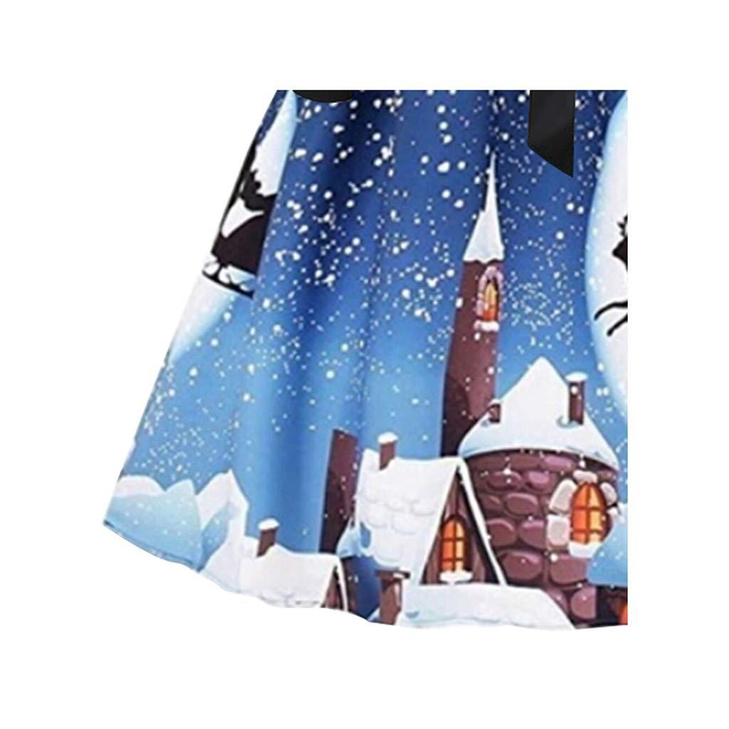 Vestiti Donna Elegante Donne Natale Stampato A-Line Mini Vestito da Swing Vintage Abito da Ragazze Sera Festa Gonne A Vita Alta Abiti da Principessa Regalo di Natale