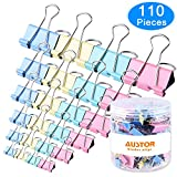 AUSTOR 110 Pcs Colored Binder Clips Paper Clamp Clips Assorted 6 Sizes