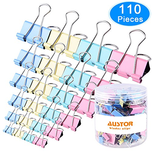 AUSTOR 110 Pcs Colored Binder Clips Paper Clamp Clips Assorted 6 Sizes by AUSTOR (Image #7)