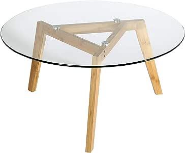 طاولة قهوة زجاجية من مول بو، طاولة قهوة عصرية لغرفة المعيشة، طاولة قهوة بيضاء، طاولة جانبية مع إطار من الخشب الطبيعي وسطح من الزجاج، طاولات قهوة
