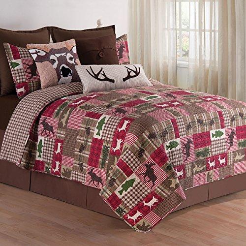 C&F Home Happy Camper Quilt Set, Full/Queen, Brown, 3 - Set Hopscotch Quilt