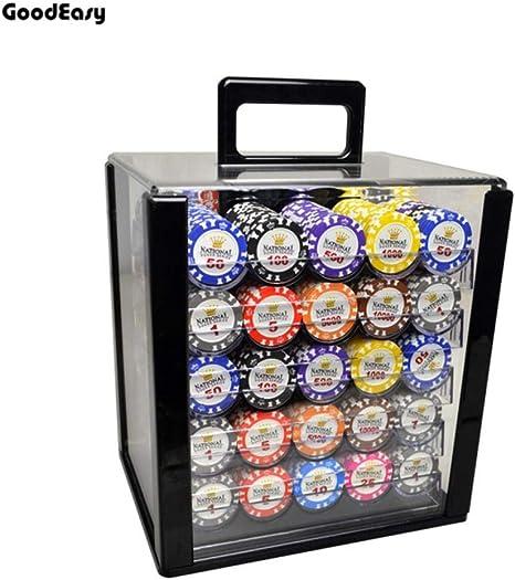 100 / 1000PCS Juegos de fichas de póker de Casino Gold Crown Texas ...
