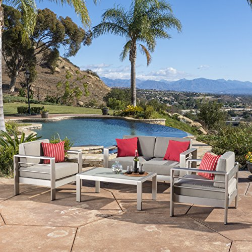 Aluminum 4 Piece - Christopher Knight Home Sonora Outdoor Aluminum 4-Piece Loveseat Set with Cushions