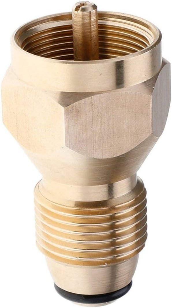 Adaptador universal de recarga de propano de seguridad para cilindro de 1 lb Acoplador de tanque Botella de calentador Accesorio de válvula reguladora de latón macizo (oro) ESjasnyfall