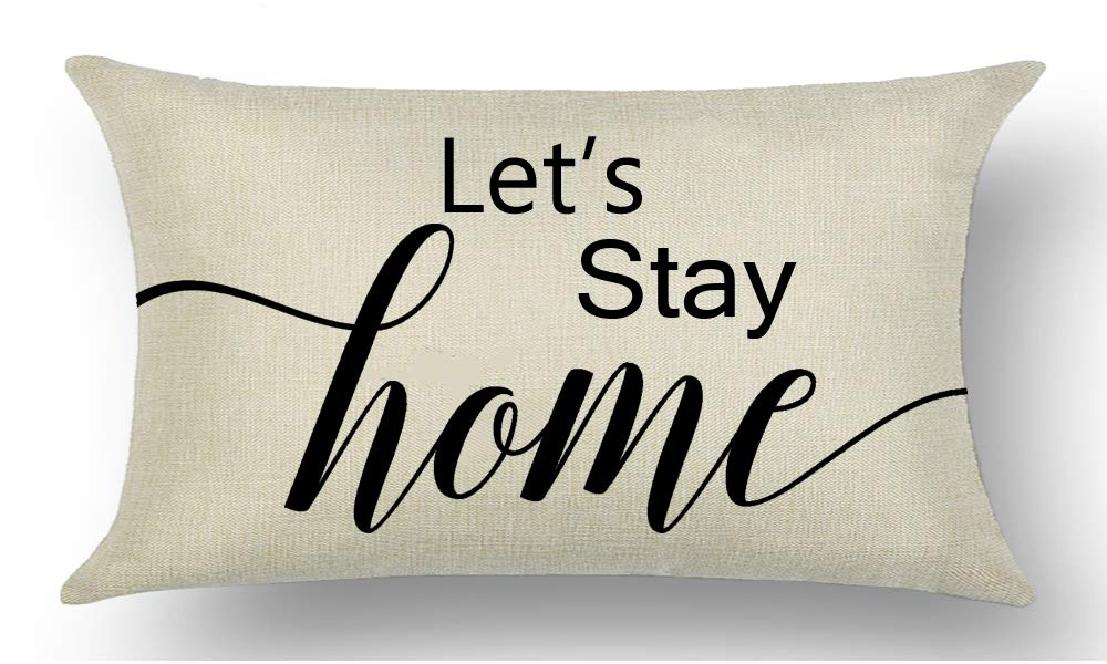 WePurchase Black Font Word Art Let's Stay Home Quote Family Inspirational Decoration Cotton Linen Decorative Home Sofa Living Room Throw Pillow Case Cushion Cover Rectangle 12x20 Inches