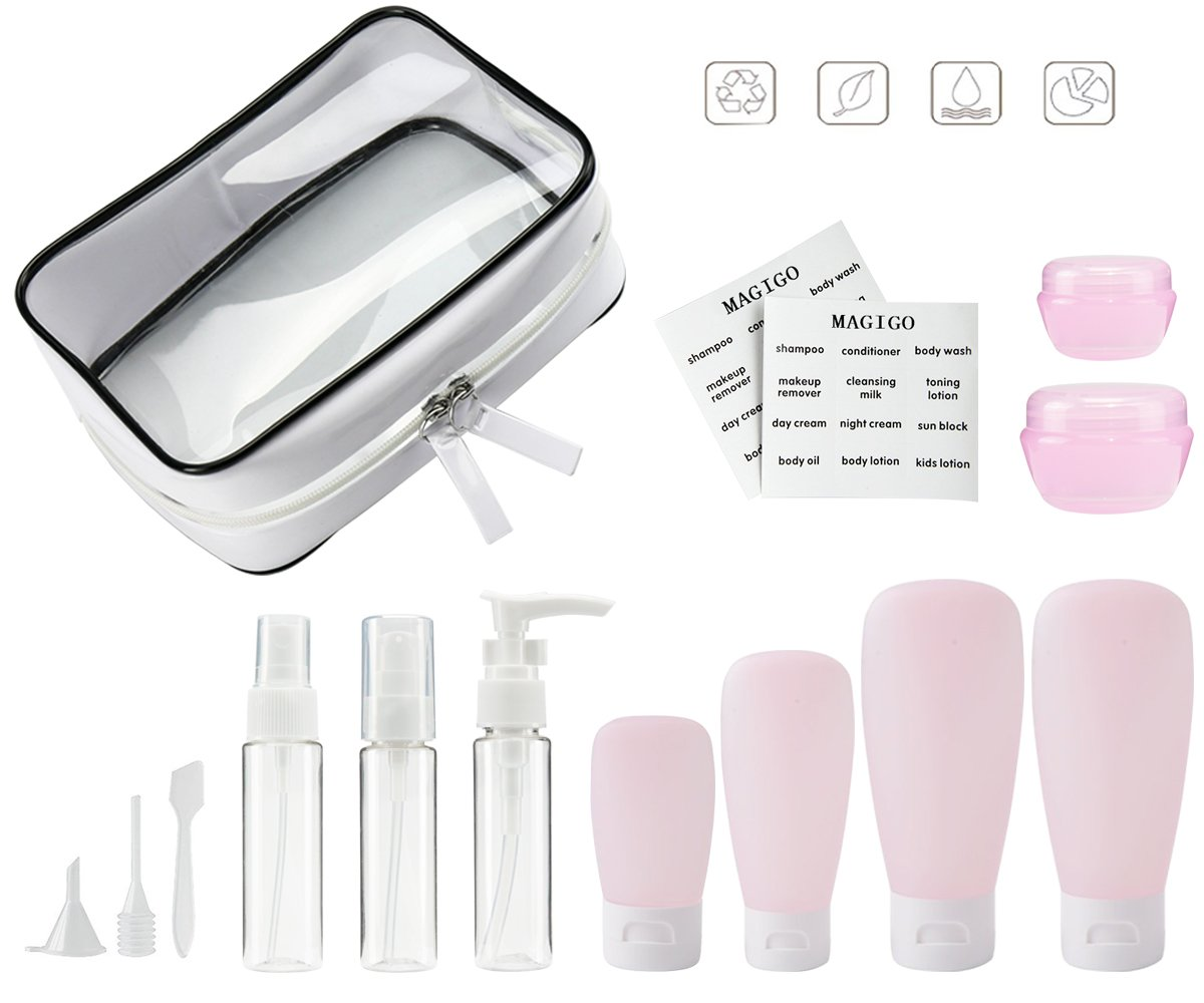 MAGIGO Pink Toiletries Leak Proof Travel Bottle Set (14 Pack),TSA Approved Airline Carry-On with Clear Bags for Women