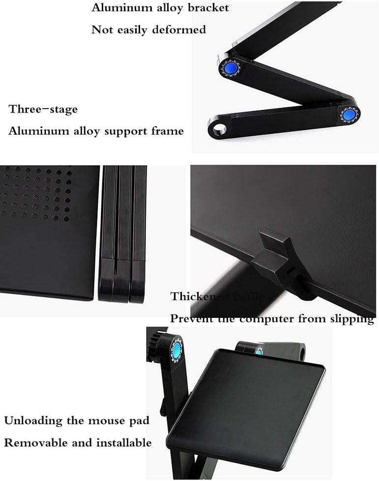 Black, Stand -4824.5CM GFQ Adjustable Aluminum Laptop Desk Portable Laptop Table Stand Light Weight Ergonomic Tv Bed Lap Tray