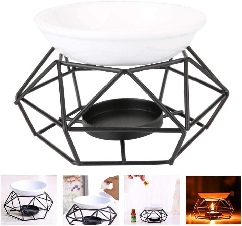 Quemador de Aceite, cerámica de hierro geométrico Candelabro con Aroma a Velas de Cerámica, Para Spa Yoga MeditacióN Casa Sala De Estar DecoracióN Negro