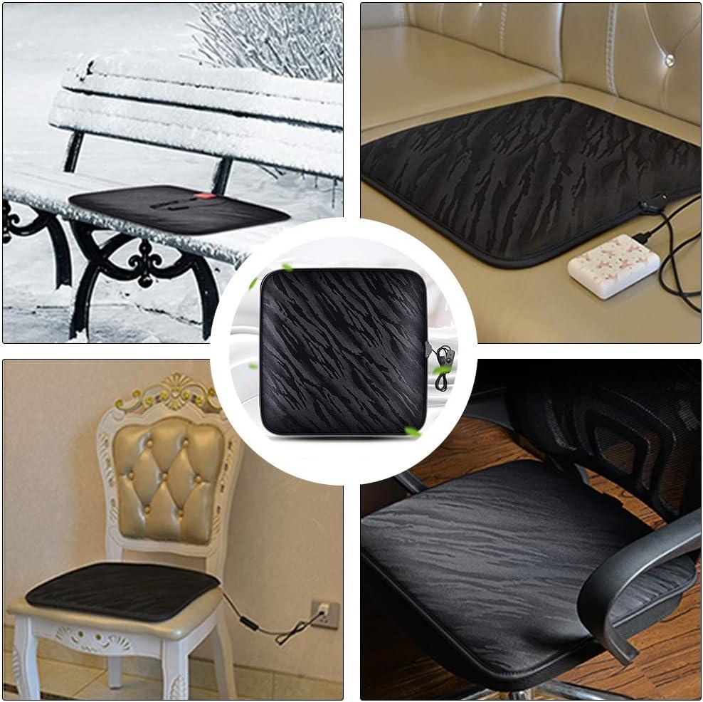 HOTEU Car Heated Seat Cushion USB Chair Warmer 12V Heated Seat Cover Nonslip Heated Warm Chair Pad for Auto Supplies Home Office