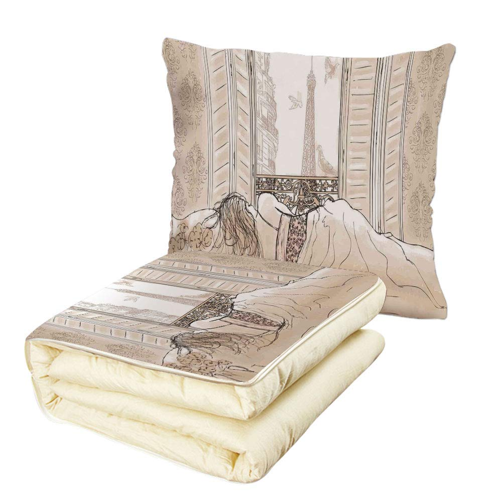 Quilt Dual-Use Pillow Paris Decor Parisian Woman Sleeping with The View of Eiffiel Tower from Window Romance Skecthy Modern Art Multifunctional Air-Conditioning Quilt Cream