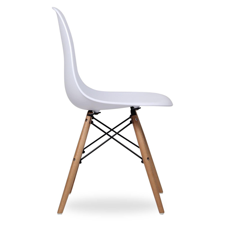 Set 4 sedie mod d sw bianca in polipropilene e gambe in for Sedie di marca