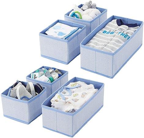 mDesign Juego de 6 cajas organizadoras – Cestas de tela transpirables con diseño de espiga para pañales, baberos, etc. – Versátiles organizadores de cajones para habitación infantil – azul: Amazon.es: Hogar