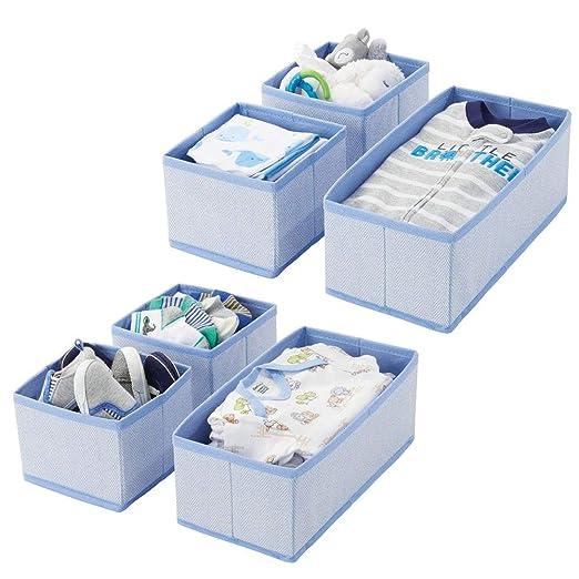 Organizador de beb/é en fibra sint/ética para calcetines baberos y m/ás Perfecta caja para guardar juguetes con 8 divisiones mDesign Juego de 3 cajones organizadores color crema//blanco
