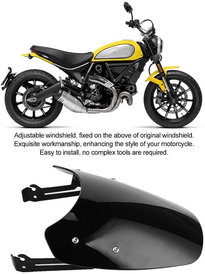 Transparent Smoky Motorcycle Windscreen,Motorbike Wind Deflector Windshield Riding Protection Fit for Ducati Scrambler 2016-2019