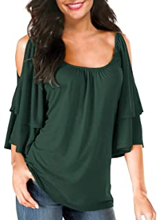 46a1a94f90d102 BBX Lephsnt Women's Summer Cold Shoulder Ruffle Sleeve Loose Stretch Tops  Tunic Blouse Shirt