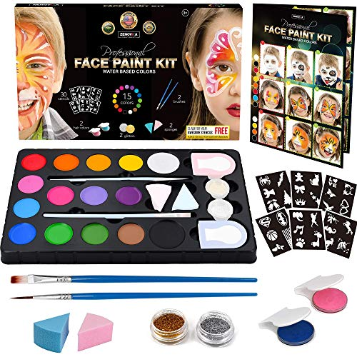 Face Paint Kit for Kids - 60 Jumbo Stencils, 15 Large Water Based Paints, 2 Glitters - Halloween Makeup Kit, Professional Face Paint Palette, Face Paints Safe for Sensitive Skin, -